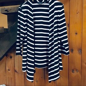 Susan Graver Weekend Black Striped  Open Cardigan